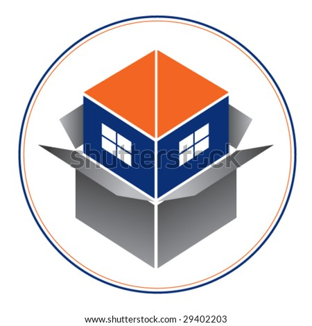 Logo or icon for real estate or home building business 1. Blue house with orange roof emerging from a box. Please, see another version.