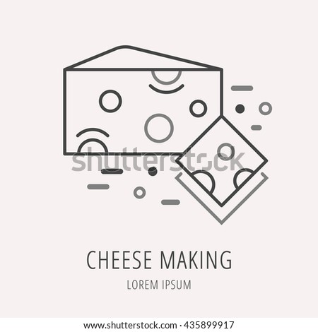Logo Label Cheese Making Line Style Stock Vector 435899917 ...