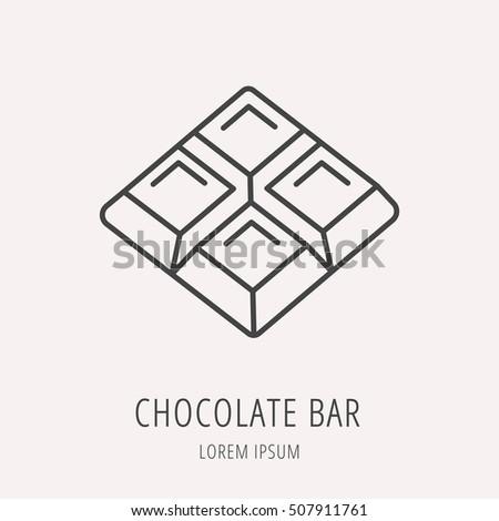 chocolate bar label template - set line icons flat design chocolate stock illustration