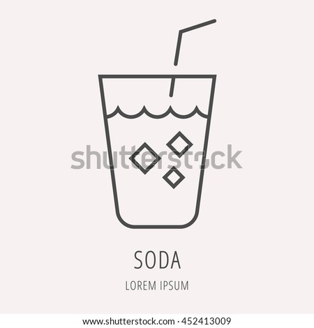 logo or label drink. Line style logotype template with soda. Easy to use business template. Vector abstract logo or emblem.