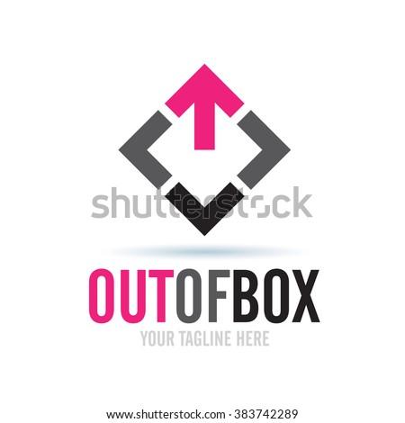 Logo Out Of Box Icon Element Template Design Logos - stock vector