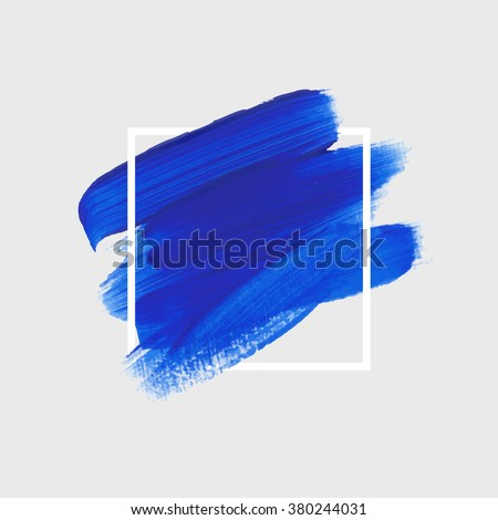 Logo paint template. Original grunge brush paint texture design acrylic stroke poster over square frame vector. Original rough paper hand painted vector. Perfect design for headline, logo and banner. - stock vector