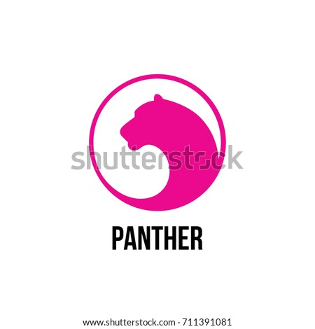Logo panther  in a negative space.
