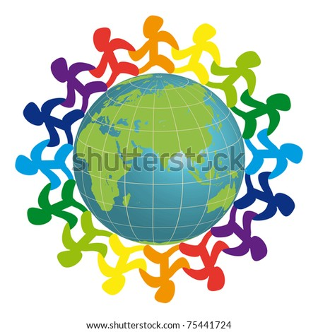 Logo - people on the earth - stock vector