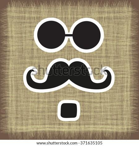 logo, postcard from mustache in vector EPS - stock vector