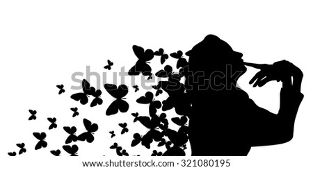 Logo Profile of a girl with butterflies. Vector