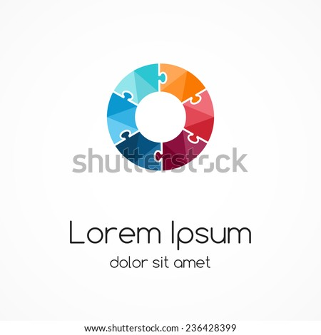 Logo puzzle template. Abstract circle creative sign, symbol with 6 parts. - stock vector