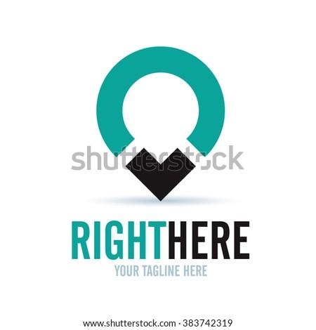 Logo Right Here Icon Element Template Design Logos - stock vector