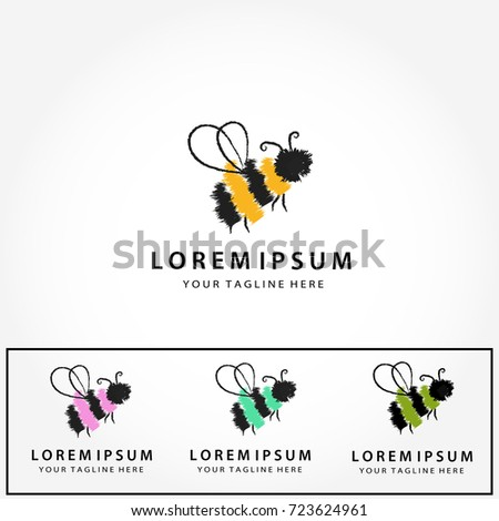 Logo Set Abstract Minimalist Style Bee LogosHand Drawn Colorful BeesModern Trendy