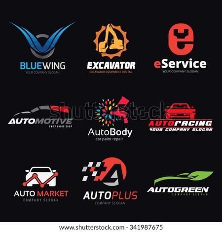 logo set,logo collection,auto logo,automotive logo,transport logo,car logo,excavator logo,vector logo template - stock vector