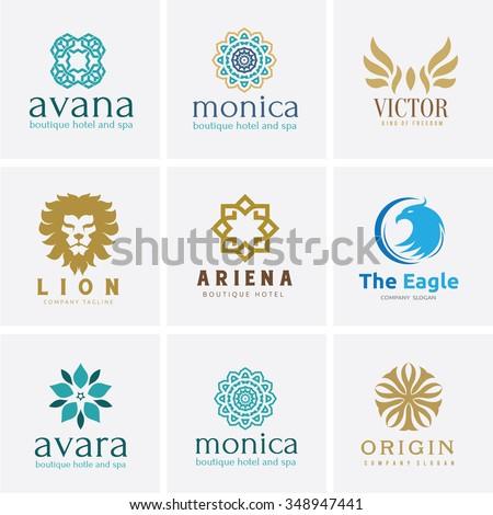 Logo set,Logo Collection,Crests logo,hotel logo,boutique brand logo,Vector Logo Template - stock vector