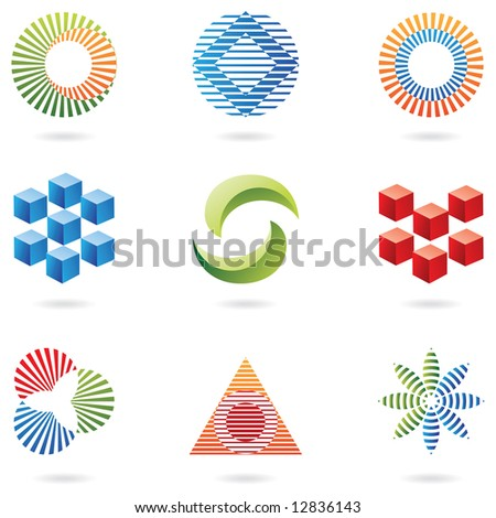 logo shapes and graphic design elements (lines and cubes) - stock vector