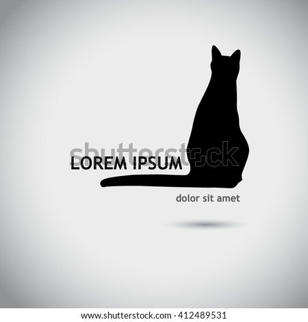 logo silhouette of cat. Vector - stock vector