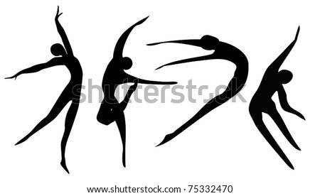 logo Silhouettes of dancers and sportsmen black on a white background - stock vector