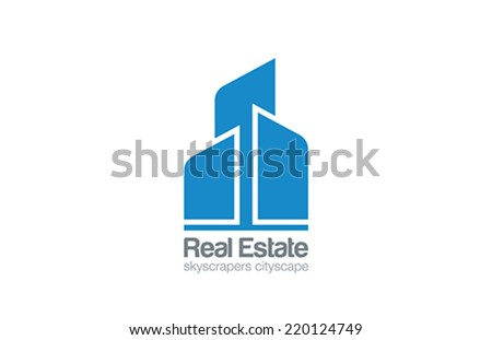 Logo Skyscrapers Real Estate vector design template. Construction Realty icon. Business Commercial property logotype concept. - stock vector