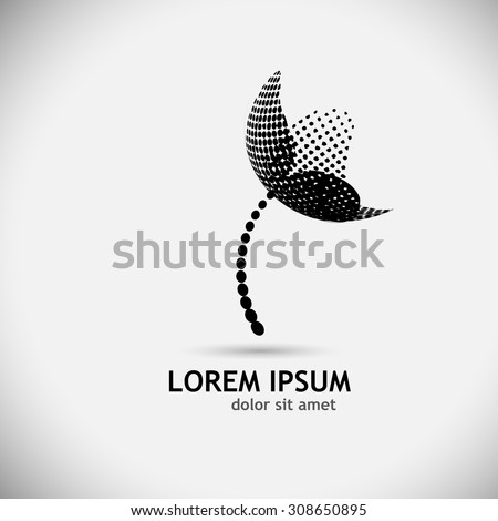Logo stylized flower circles. Vector - stock vector