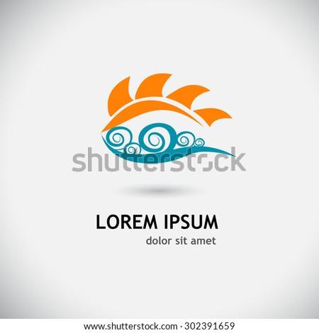 Logo sun wave. Vector - stock vector