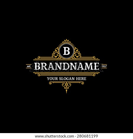 Logo template calligraphic elegant ornament lines. Sign for Restaurant, Royalty, Jewelry, Boutique, Cafe, Hotel, Heraldic. - stock vector