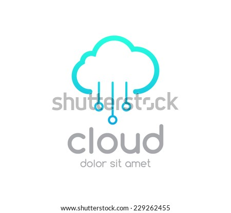 Logo template cloud service computing, download, upload, networking, wireless, database, transfer, share, brand, server, branding,company, corporate, logotype, identity - stock vector