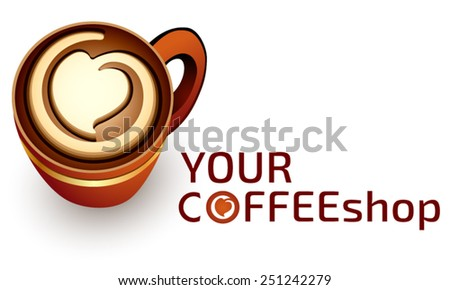 Logo template coffee or cafe business, coffee cup, cappuccino cup, vending logo - stock vector