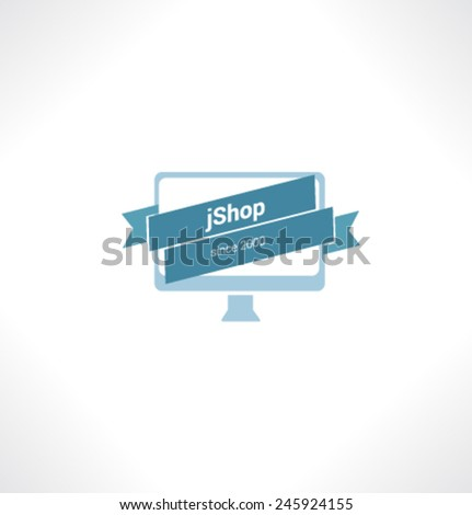 Logo template. Corporate icon for logotype. Vector. Computers Shop. - stock vector