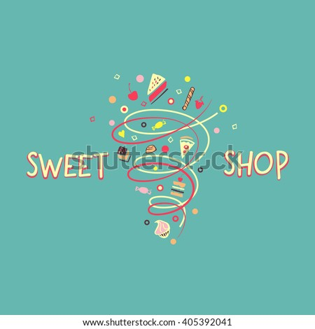 Logo template for confectionery, bakery. Candy store. Candy and cookies. Bright, festive style.Sweet shop. - stock vector