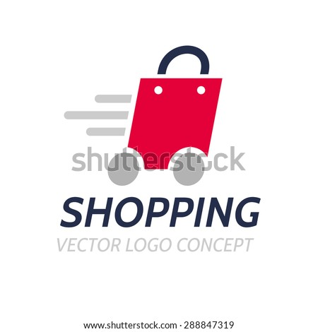 Logo template - shopping. The logo includes a bag on wheels symbolizing quick buy - stock vector