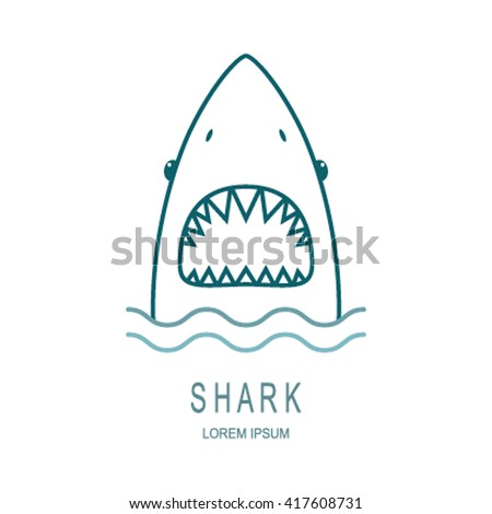 Logo Template Style line shark with an open mouth. the perfect logo for your business. Vector illustration - stock vector