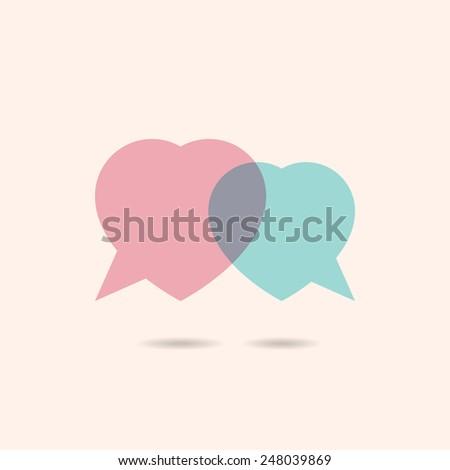 Logo template. Two hearts speech bubble - stock vector