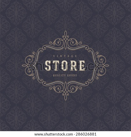 Logo template with flourishes calligraphic elegant ornament elements. Identity design for store or cafe, shop, restaurant, boutique, fashion and etc. - stock vector