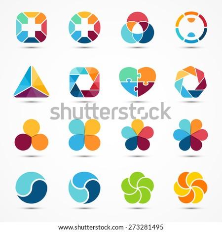 Logo templates set. Modern vector abstract circle creative sign or symbol. Design geometric elements - stock vector