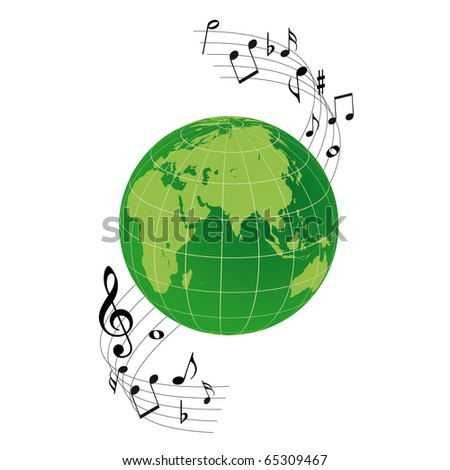 Logo the earth and musical notes - stock vector