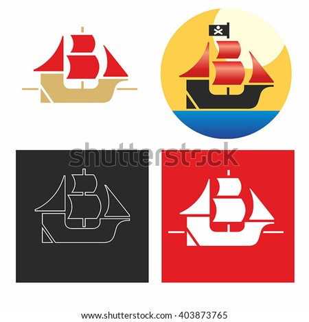Logo. The ship with sails. Vector with the gradient and the simple vector. - stock vector