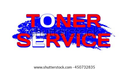 Logo Toner Service on grunge blue color brush stroke. RGB palette. Vector