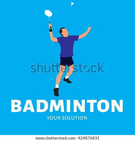 Logo vector badminton. A player commits feed