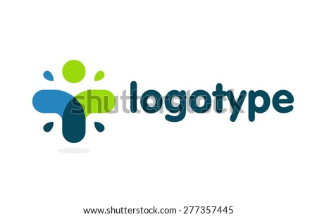 Logo. Vector. Human. Medic cross.  - stock vector