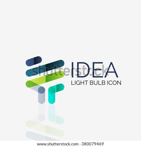 Logo, vector light bulb abstract linear geometric business icon. Idea concept - stock vector