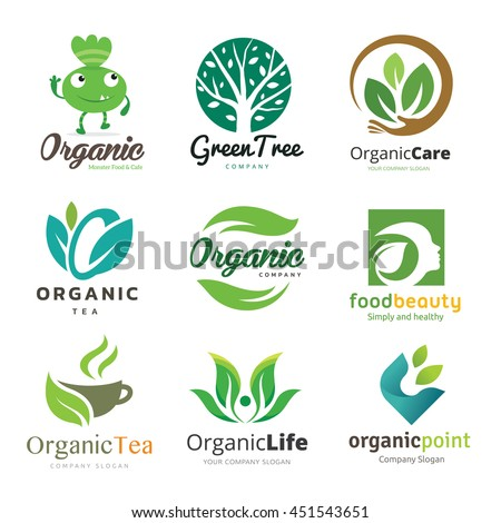 Logo Vector Set Of Natural Organic Tree Beauty Collection Design