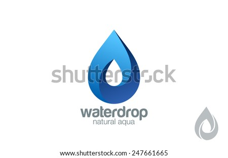 Logo Water drop abstract design vector template. Water drop Logotype. Infinity loop Aqua concept. Infinite looped shape droplet icon. - stock vector