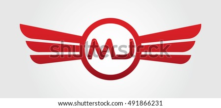 Logo Winged MJ Red Letters Aviation Or Falcon Vector Template Design