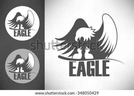 Logo with bald eagle with chicks in the nest  - stock vector