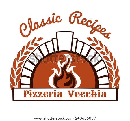Logo with firewood oven and pizza. Burning stove and place for text. Vector illustration - stock vector