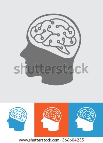 Logo with human head and brain inside - stock vector