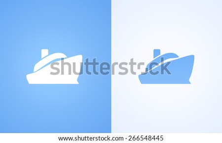 Logo with steamboat, Ferryboat on white and blue background. Symbol of Marine Vacation on Steamer ship - stock vector