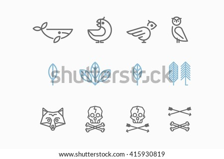 Logo with the Animals in the Style of Hipster. Trendy Retro Vintage Insignias Bundle. Vector art.