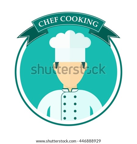 Logo with the chef in a chef hat. Template for menu card, brochure, presentation and advertising of restaurant and cafe. Objects isolated on white background. Flat cartoon vector illustration. - stock vector