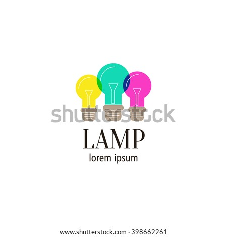 Logo with the image of a retro lamps with the multiply effect of color blending. It can be used for a company that electrician. Also, the bulb symbol means a creative idea. - stock vector