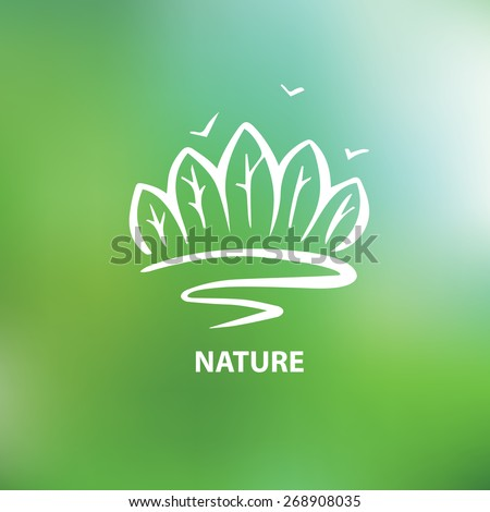 Logo with the image of trees and forests. Environment, nature. The Nature Conservancy. - stock vector