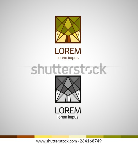logo with triangular elements. Silhouette of a tree. Flat polygons. Color and monochrome versions. Vector. - stock vector