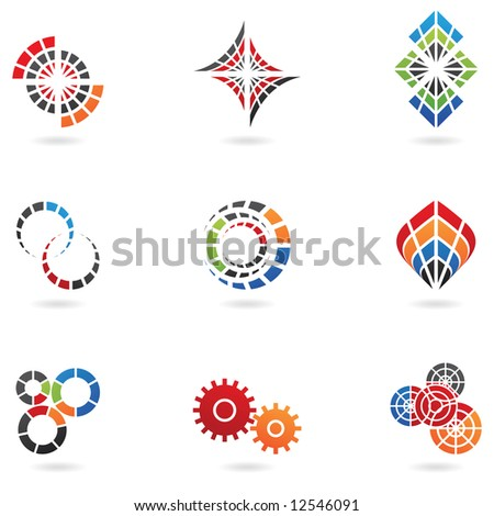 Logos to go with your company name (set of 9) - stock vector